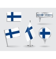 Set of Finnish pin icon and map pointer flags vector image