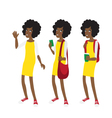 Young Afro american student girl in yellow dress vector image