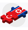 Turkey and Korea-North Flags vector image