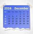 Calendar december 2016 colorful torn paper vector image vector image