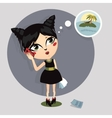 cartoon girl talking on the phone vector image