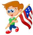 Cartoon little kid holding american flag vector image