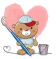 cute cartoon artist teddy bear vector image