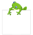 Funny frog cartoon with blank sign vector image