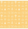 Seamless line kitchen icons yellow cookware vector image