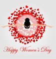 Womens day graphic with a lovely woman dancing vector image