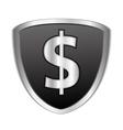 Black shield with dollar symbol vector image vector image