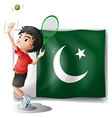The Pakistan flag and the tennis player vector image
