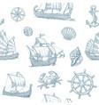 Trireme caravel drakkar junk set sailing ships vector image