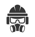 builder safety helmet protection glasses vector image