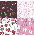 Valentine dayweddingloveSeamless pattern set vector image