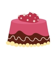 Chocolate cream birthday cake topped pie isolated vector image