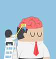 Businessman wash and clean the brain of his vector image