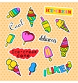 Fashion patch badges Pop art Ice cream set vector image