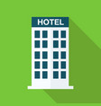 flat hotel building with long shadow on green vector image