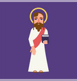 jesus christ cartoon flat character vector image