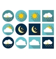 Weather Icons with Sun Cloud Rain and Moon in vector image