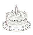 Holiday cake with candle vector image vector image