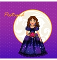 Doll Princess in blue evening dress vector image