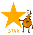 star shape with cartoon deer vector image vector image