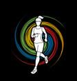 running woman sport woman sprinter marathon vector image