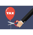 Big hand cutting tax balloon string with scissors vector image