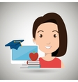 woman student pc books vector image