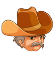 An old man wearing a cowboy hat vector image vector image