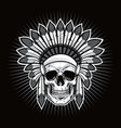 skull of native american indian warrior vector image