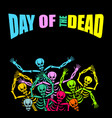 day of the dead multicolored skeleton color skull vector image