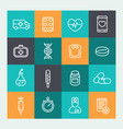 medicine icons set in line style vector image