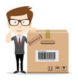 smiling modern business man with a large cardboard vector image