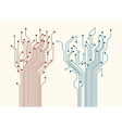 Two abstract circuit trees vector image