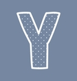 Y alphabet letter with white polka dots on blue vector image