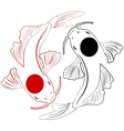 Pisces Koi fish Chinese carps hand drawn doodle vector image