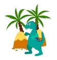 Green happy dinosaur applique vector image