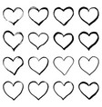 grunge hand drawn heart shaped frame isolated on vector image