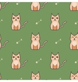 Orange cute cartoon cat background vector image