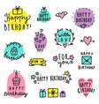 set of birthday lettering vector image