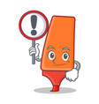 with sign highlighter cartoon character style vector image