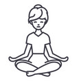 yoga woman line icon sign on vector image