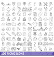 100 picnic icons set outline style vector image