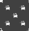 Forklift icon sign Seamless pattern on a gray vector image