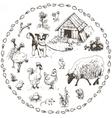 Set of hand drawn farm animals vector image