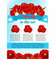 spring poster of poppy flowers wreath vector image