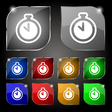 The stopwatch icon sign Set of ten colorful vector image
