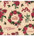 Vintage Christmas Flowers Bells Seamless vector image vector image