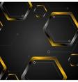 Dark tech background with black orange hexagons vector image