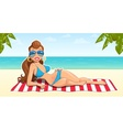 Beautiful girl on beach vector image