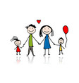 happy family sketch for your design vector image